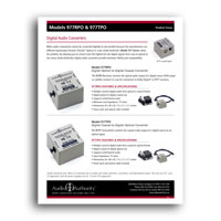 Audio Authority 977TPO Coaxial to TOSLink Optical Digital Audio Converter product focus sheet - Click to download PDF