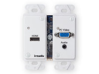 Intelix ASW-WP VGA/HDMI Input Auto-Switching Wallplate with HDBaseT Output, front view without cover plate