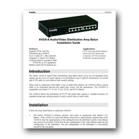 Intelix AVDA-8-F Audio/Video 1x8 Distribution Amplifier Balun, Manual - Click to download PDF