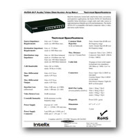 Intelix AVDA-8-F Audio/Video 1x8 Distribution Amplifier Balun, Specs - Click to download PDF