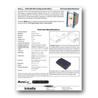 Intelix AVO-A2-WP-F Stereo Audio Wallplate Balun tech specs - click to download PDF