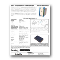 Intelix AVO-A2MINI-WP-F Stereo Audio Wallplate Balun tech specs - click to download PDF