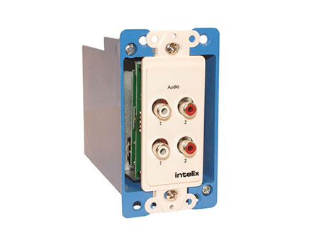 Intelix AVO-A4-WP-F Dual Stereo Analog Audio Wallplate Balun - Pro-Grade Passive CAT 5 Extender for Analog Audio