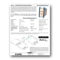 Intelix AVO-A4-WP-F Dual Stereo Audio Wallplate Balun tech specs - click to download PDF