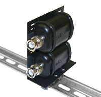 Intelix AVO-CLIP-F Balun Mounting Clip, shown with two optional baluns