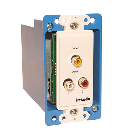 Intelix AVO-V1A2-WP-F Composite Video / Stereo Audio Wallplate Balun w/ RJ45 Termination
