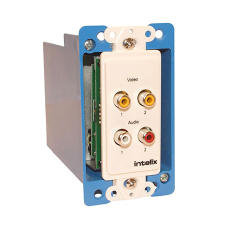 Intelix AVO-V2A2-WP-F Y/C or Dual Composite Video and Stereo Audio Wallplate Balun w/RJ45 termination