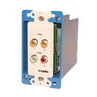 Intelix AVO-V2A2-WP-F Y/C or Dual Composite Video and Stereo Audio Wallplate Balun w/RJ45 termination, right view