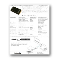 Intelix AVO-V3AD-F Component Video and Digital Audio Balun, Tech Specs - click to download PDF