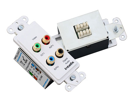 Intelix AVO-V3AD-WP110 Component Video and Digital Audio Wallplate Balun w/110 Punch-down Termination