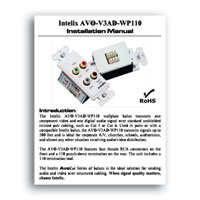 Intelix AVO-V3AD-WP110 Component Video and Digital Audio Wallplate Balun w/110 Punch-down Termination, Installation Manual in PDF format