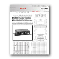 Jensen Transformers PC-2XR User Manual - click to download PDF