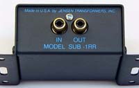 Jensen Transformers SUB-1RR ISO-MAX Low-Frequency Audio Input Isolator / Hum Eliminator - connections