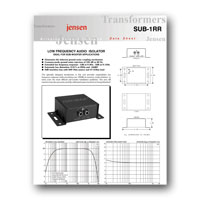 Jensen Transformers SUB-1RR ISO-MAX Low-Frequency Audio Input Isolator / Hum Eliminator - specs