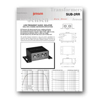 Jensen Transformers SUB-2RR ISO-MAX 2-Channel Low-Frequency Audio Isolator / Hum Eliminator - specs
